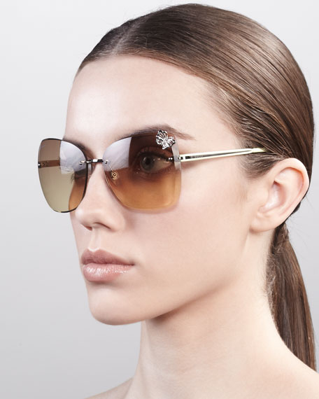 Butterfly-Temple Rimless Sunglasses, Palladium/Yellow