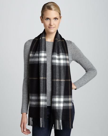 Giant Check Cashmere Scarf, Black