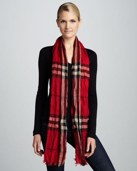 Giant-Check Crinkled Scarf