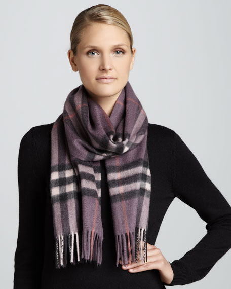 Giant Check Cashmere Scarf, Dark Hyacinth