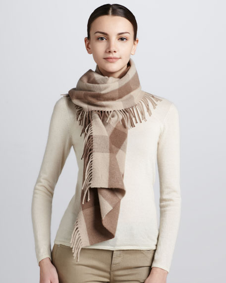 Happy Tonal Check Scarf, Smoke Trench