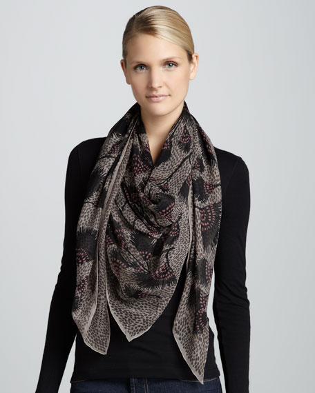 Feather-Print Silk Scarf, Mole Gray