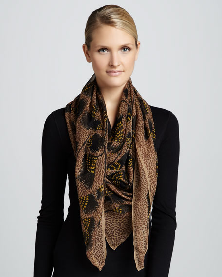 Feather-Print Silk Scarf, Dark Camel