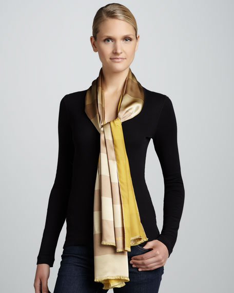 College Stripes Silk Scarf, Camel