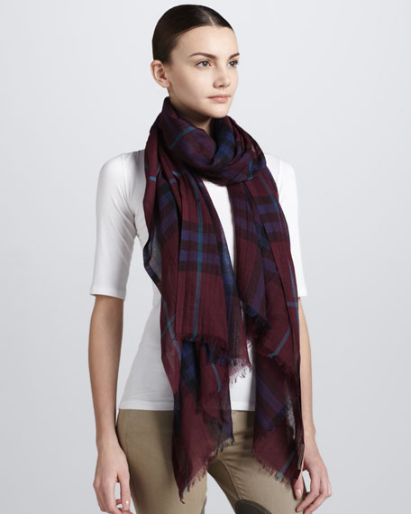 Giant Check Gauze Scarf, Burgundy