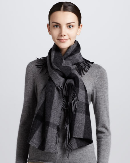 Happy Tonal Check Scarf, Black