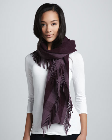 Happy Tonal Check Scarf, Hyacinth