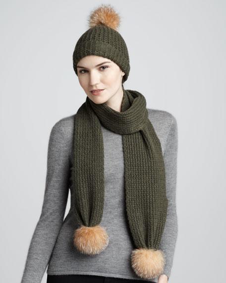 Fur-Pom Cashmere Scarf