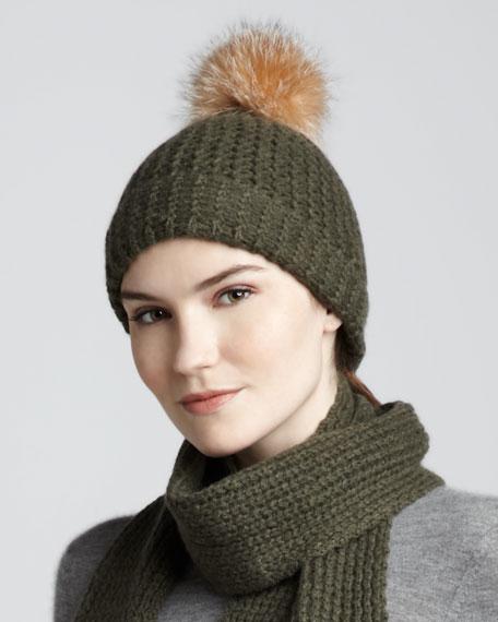 Fur-Pom Cashmere Cap