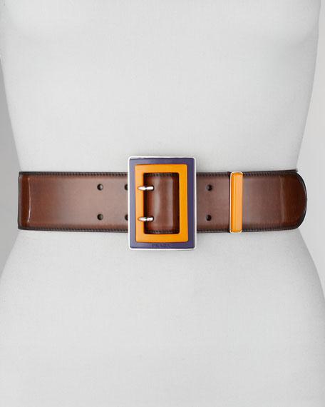 Spazzolato Colorblock-Buckle Belt
