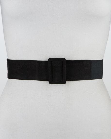 Elastic-Backed Suede Belt, Black