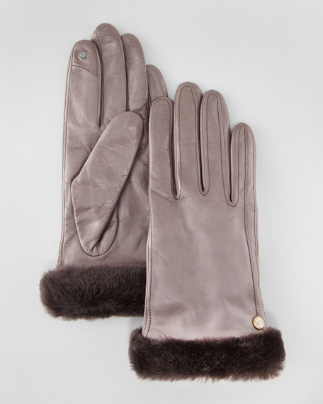 Classic Leather Smart Glove, Charcoal