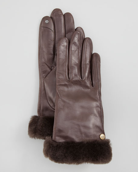 Classic Leather Smart Gloves, Brown