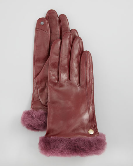 Classic Leather Smart Gloves, Mahogany