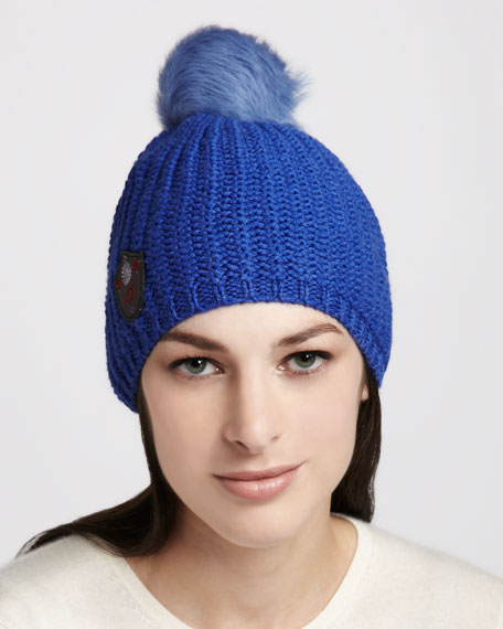 Great Jones Fur-Pompom Hat, Periwinkle