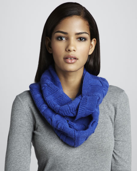 Cable-Knit Infinity Scarf, Periwinkle