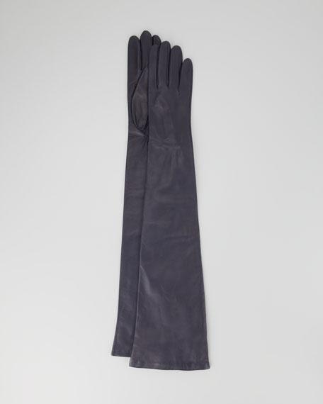 Opera-Length Leather Gloves, Navy