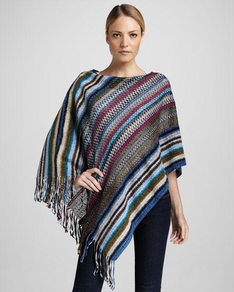 Striped Chenille Poncho, Blue