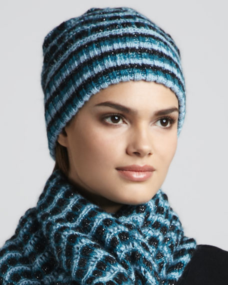 Striped Knit Cap, Blue