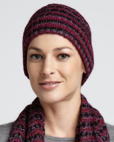 Zigzag Knit Cap, Raspberry