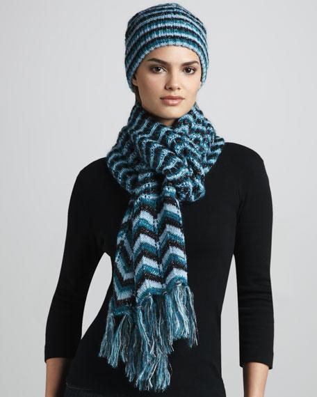 Zigzag Tassel Scarf, Blue