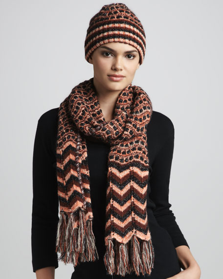 Zigzag & Dot Tassel Scarf, Orange