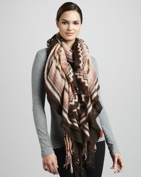 Ruched Zigzag Scarf, Chocolate
