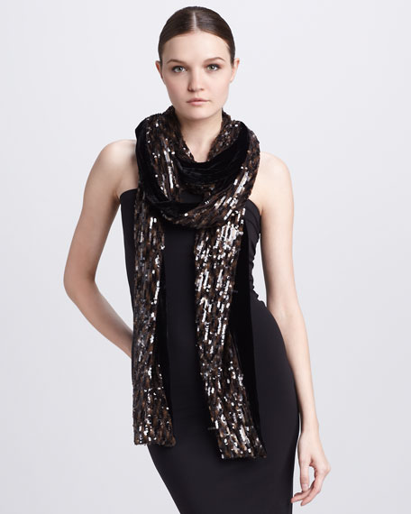 Extra-Long Sequined Velvet Scarf, Chocolate