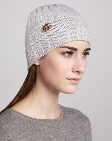 GG-Medallion Knit Cap, Pearl
