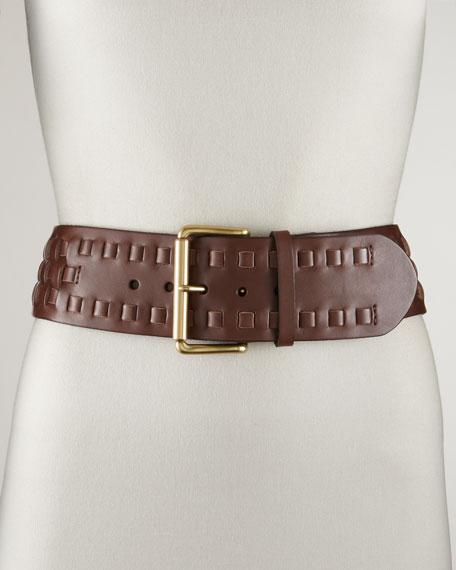 Woven Leather Belt, Dark Brown