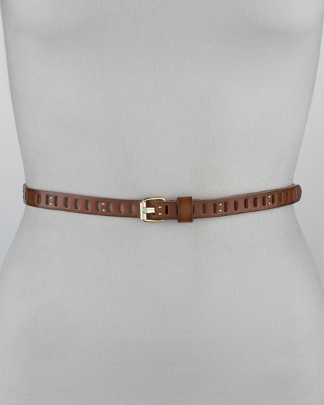 Skinny Studded Cutout Belt, Whiskey