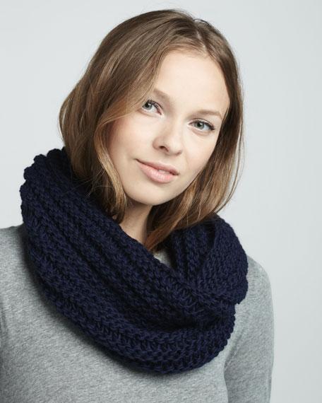 Knit Infinity Scarf, Navy