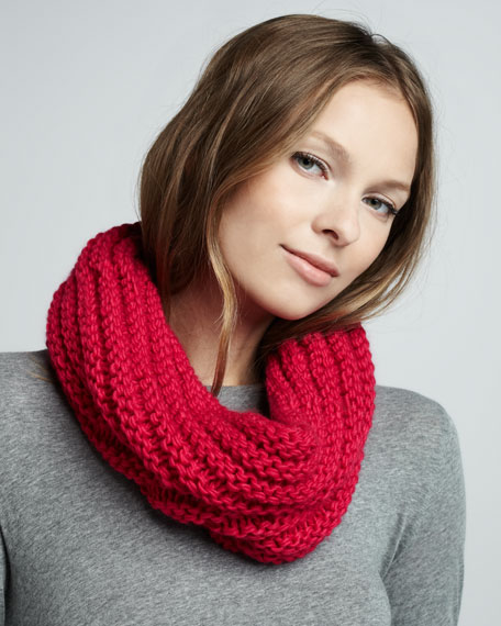 Knit Infinity Scarf, Pink