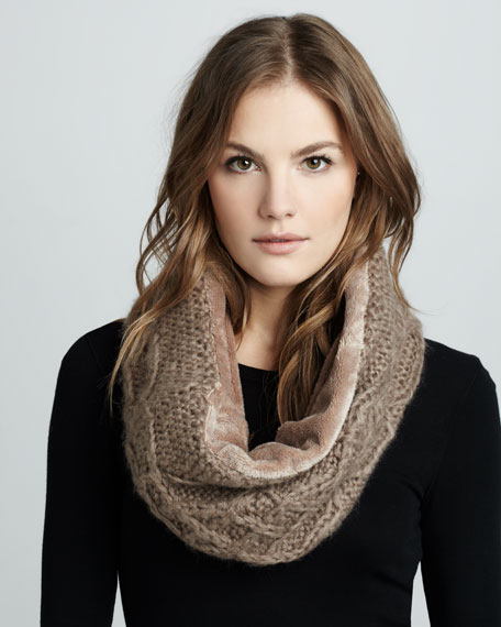Faux-Fur-Lined Infinity Scarf, Taupe