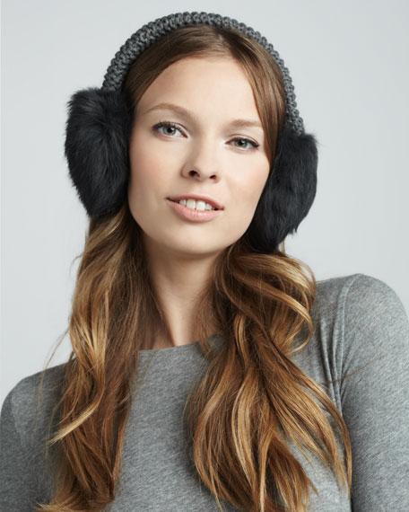 Fur Ear Muffs, Charcoal