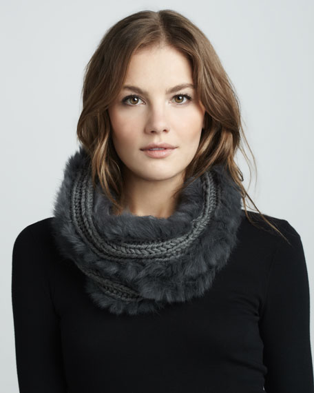 Knit/Fur Neck Scarf, Charcoal