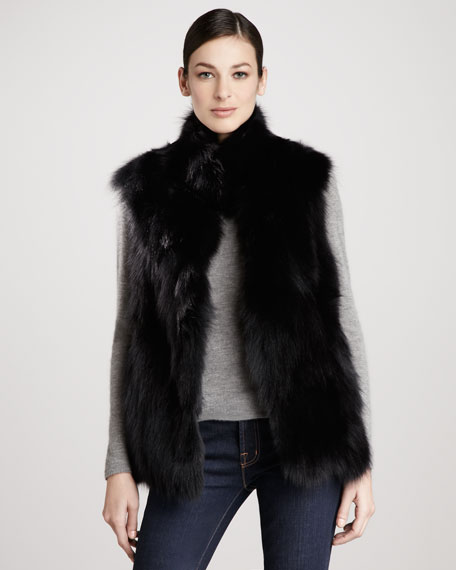 Stand-Collar Fox Fur Vest, Black