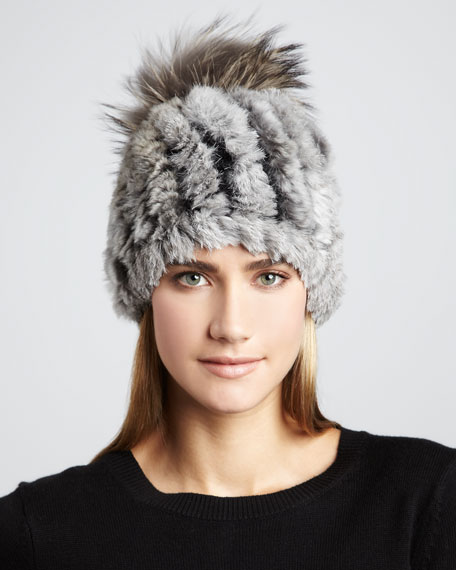 Knit Rabbit Fur Pom-Pom Hat, Gray