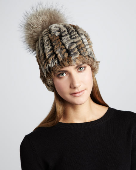 Knit Rabbit Fur Pom-Pom Hat, Brown