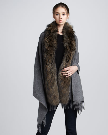 Raccoon Fur-Trim Cashmere Stole, Gray/Natural
