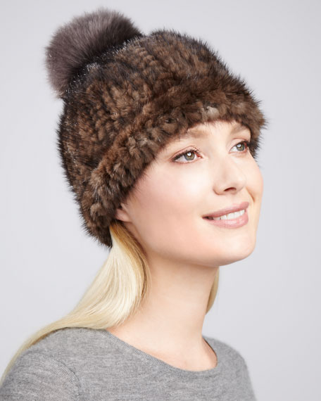 Adrienne Landau Fox Fur-Pompom Knitted Mink   Fox Fur Hat 30ed977d419