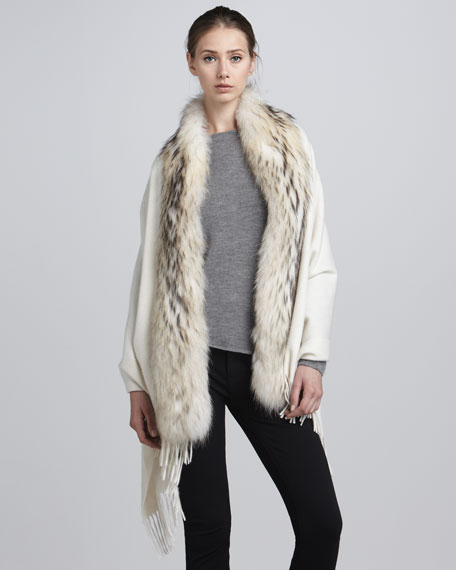 Raccoon Fur-Trimmed Cashmere Stole, Ivory
