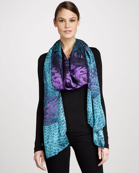Dragon Silk Chiffon Stole, Blue
