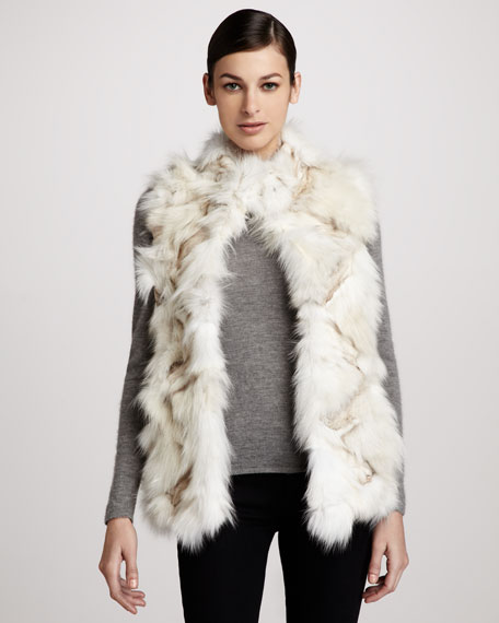 Roadie Sectioned Fox Fur Vest, White/Multicolor