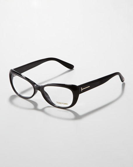 Soft Cat-Eye Fashion Glasses, Shiny Black/Silver