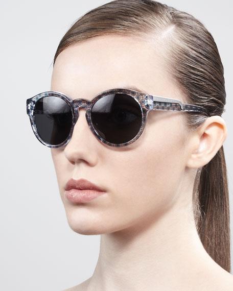 Round Dot-Print Enamel Sunglasses, Oriental Blue