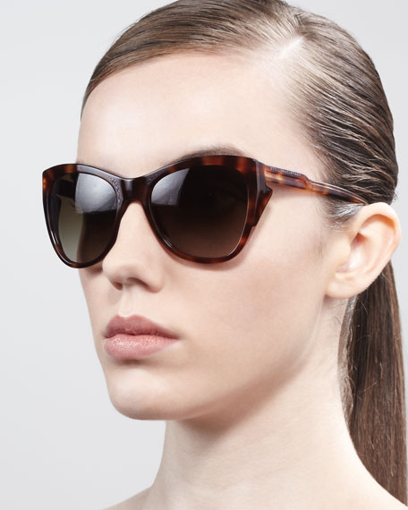 Squared Cat-Eye Sunglasses, Tortoise