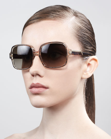 Square Sunglasses, Clear/Tortoise