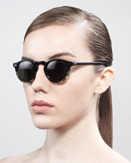 Round Enamel Sunglasses, Black/Tortoise