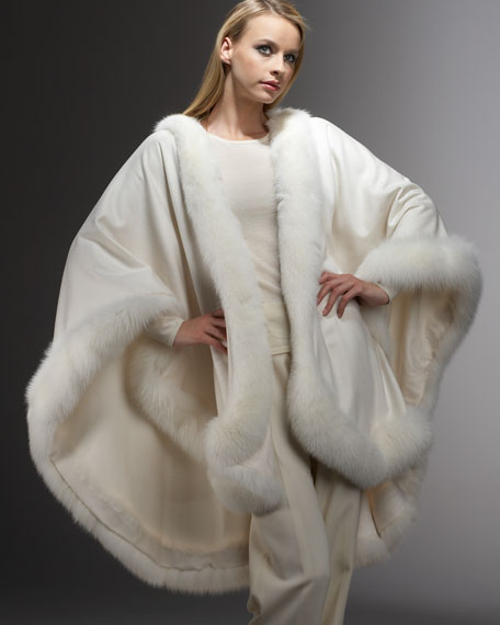 Fox Fur-Trimmed Cashmere U-Cape, White